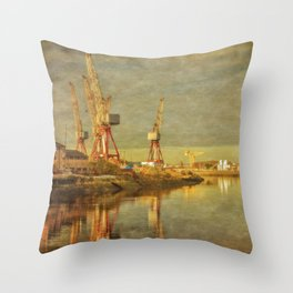Shipbuilding on the River Clyde Throw Pillow