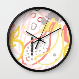 Hand drawn abstract seamless vector pattern. Fruits and brush strokes. Wall Clock