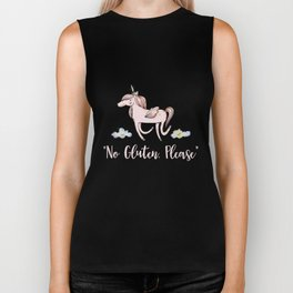 No Gluten Please - Unicorn Theme Allergy and Celiac T shirt Biker Tank