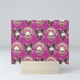 Kuromi and My Melody Punk and Cottagecore  Mini Art Print
