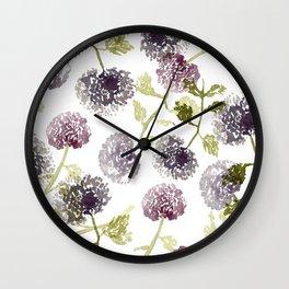 Purple Globe Thistles Wall Clock