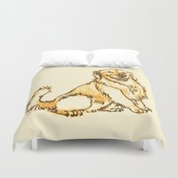 golden retriever Duvet Covers featuring Linus the Golden Retriever by bellandpixel