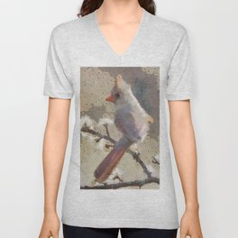 Abstract Colorful Wild Bird Cardinal Painting Unisex V-Neck