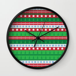 Santa's Special Delivery Repeating Pattern Wall Clock