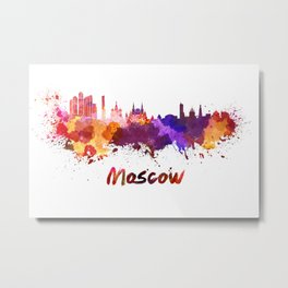 Moscow skyline in watercolor Metal Print