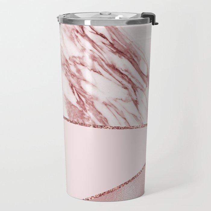 Spliced mixed pinks rose gold marble Travel Mug