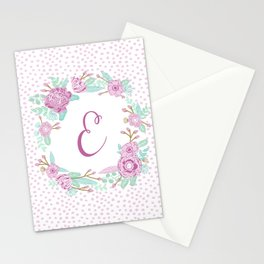 Monogram E - cute girls purple florals flower wreath, lilac florals, baby girl, baby blanket Stationery Cards