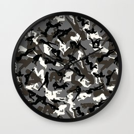 Snow Camouflage Chick Silhouettes Wall Clock