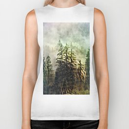 Tree's in the mist Biker Tank