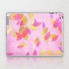 Autumn-world 5 - gold glitter leaves on pink background on #Society6 Laptop & iPad Skin