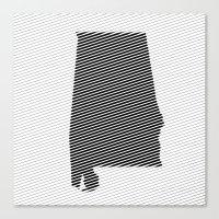 alabama Canvas Prints featuring Alabama Line by Beastie Toyz