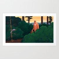 yeti Art Prints featuring Yeti by Erin Loughery