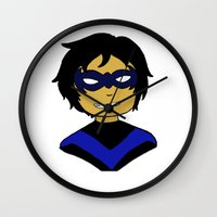 nightwing Wall Clocks featuring Robin I - Nightwing by Tristan Sites