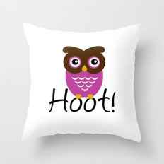 Pink Owl Hoot! Throw Pillow