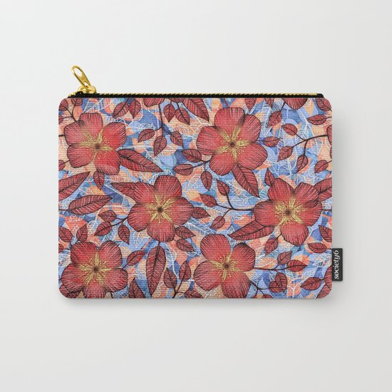 Coral Summer - a hand drawn floral pattern Carry-All Pouch