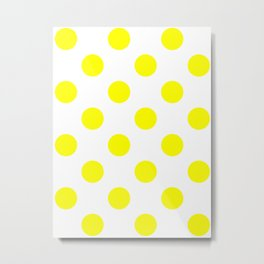Large Polka Dots - Yellow on White Metal Print