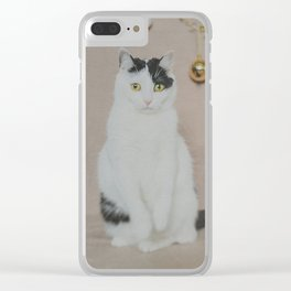 Sad Christmas Cat Clear iPhone Case