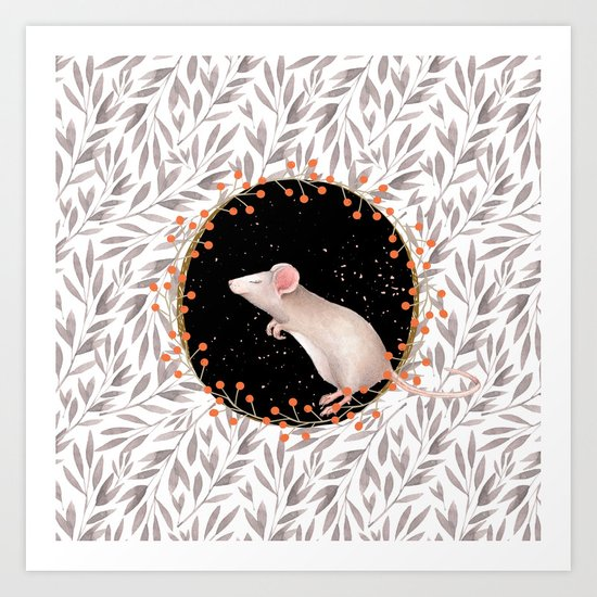 Beautiful nosey Mouse with flower backround- Animal- child - mice- flowers Art Print