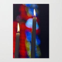 Candles in church Canvas Print