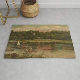 The Royal Star and Garter Home - Richmond on the Thames River landscape by James Isaiah Lewis Rug