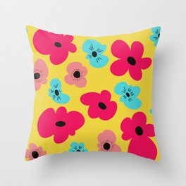 Funky poppies (golden background) Throw Pillow