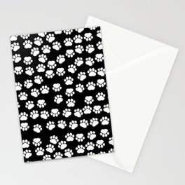 Dog Paws, Traces, Paw-prints - White Black Stationery Cards