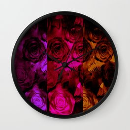 Multi Shaded Paneled Rose Design Wall Clock