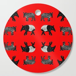 Dance of the Tapirs in red Cutting Board
