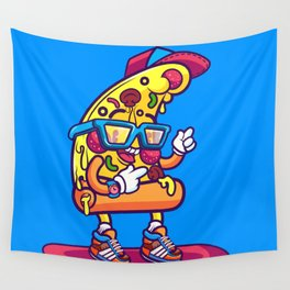Background of modern pizza slice with skateboard Wall Tapestry