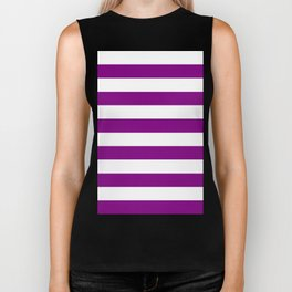 Horizontal Stripes - White and Purple Violet Biker Tank