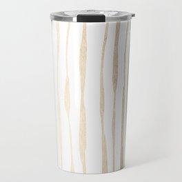 White Gold Sands Ink Pinstripes Travel Mug