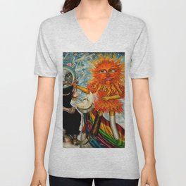 Gatos Malos, or Bad Kitties, portrait surrealist mural painting by A. Colunga Unisex V-Neck
