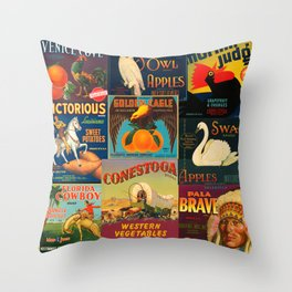 Vintage Fruit and Vegetable Crate Labels Throw Pillow
