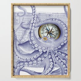 Purple Blue Octopus Compass Nautical Serving Tray