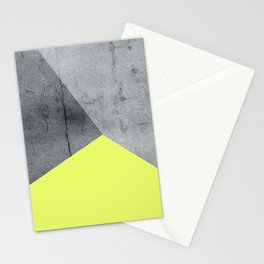 Neon Yellow On Concrete Stationery Cards
