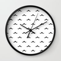 mustache Wall Clocks featuring mustache by Panic Junkie