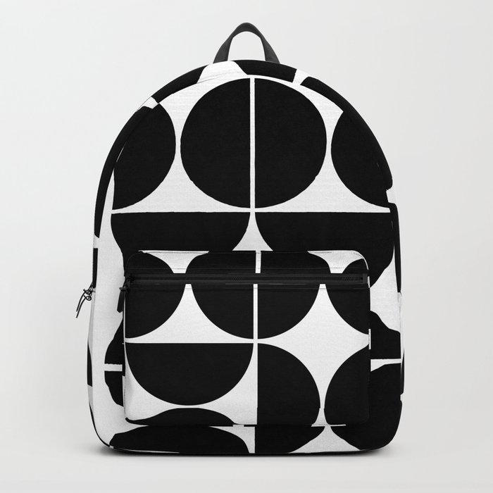 Mid Century Modern Geometric 04 Black Backpack