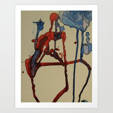 red & blue Art Print