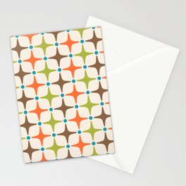 Mid Century Modern Star Pattern 814 Brown Orange Turquoise Chartreuse Stationery Cards