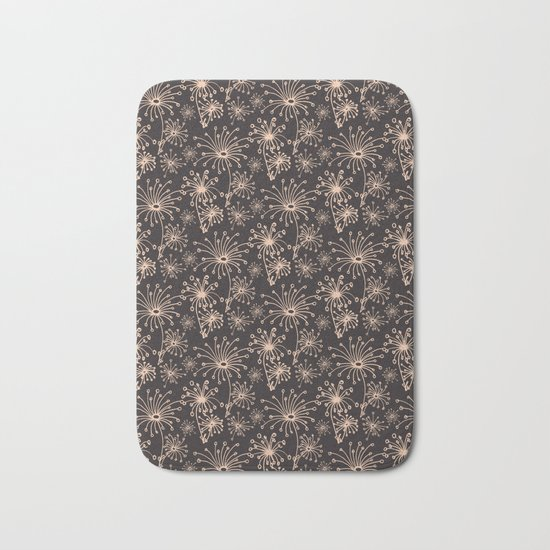 Stylized Dandelion Dark #society6 #decor #buyart Bath Mat