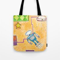 lab Tote Bags featuring Robot Lab by Cheryl Chiappetta Murray