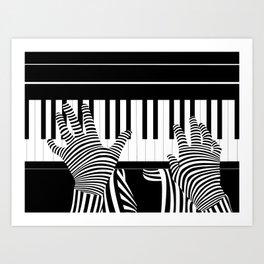 B&W Pianist Art Print