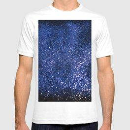 Sparkling DARK BLUE Lady Glitter #1 shiny #decor #art #society6 T-shirt