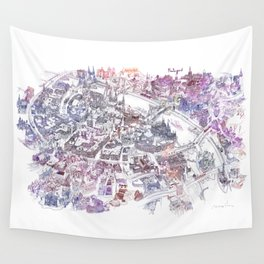 Colorful Budapest - Bird's Eye View Map Wall Tapestry