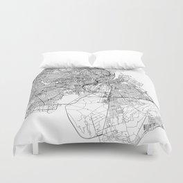 Copenhagen White Map Duvet Cover