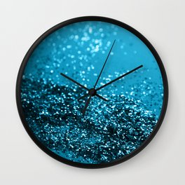 Sparkling BLUE OCEAN Glitter #1 #shiny #decor #art #society6 Wall Clock
