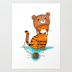 Knitted Bear Hat. Art Print