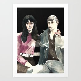 Buddies on a Bench Art Print