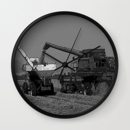 Black & White Rice Harvest Pencil Drawing Photo Wall Clock