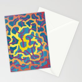 abstract blue and yellow canvas Stationery Cards
